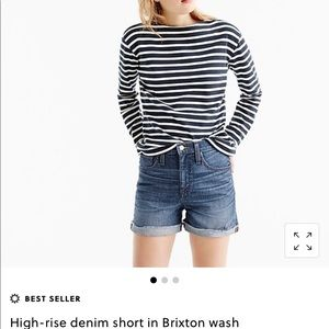 J. Crew High Rise Denim Shorts in Brixton Wash 26